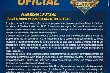 Futsal: Jaclani assume o futsal de Marechal